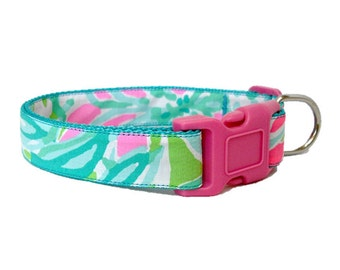 2016 CLUCK Dog Collar Made from Lilly Pulitzer Fabric on Teal Size: Your Choice