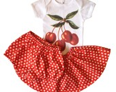 Three Piece Handmade Vintage Style Cherry Skirt Outfit, available in size 3 months to size 6, SALE