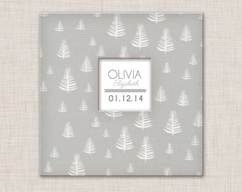 Baby Book, A Modern Baby Memory Book (Gray Trees Cover, 9.25 x 9.5)