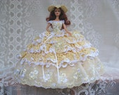 OOAK Jonquil Yellow  and White Hand Crochet and Imported Lace Barbie Bed Pillow Doll