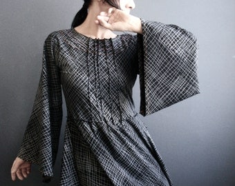 After All - iheartfink Handmade Hand Printed Womens Black Long Bell Kimono Sleeves Modern Wearable Art Jersey Dress
