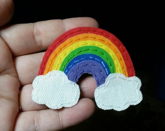 Rainbow Applique. Rainbow Patch. Rainbow Scrapbooking Embellishment. Rainbow. Handmade. Fabric Rainbow