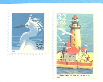 Vintage Nautical Postage Stamps, Lighthouse, Snowy Egret, Mail 20 Wedding Invitations 68 cents postage stamps 2 oz, Beach Nature Bird Stamps