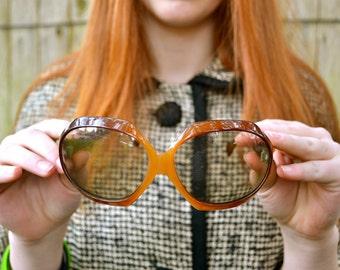vintage sunglasses, Brown Sunglasses, Vintage Eyewear, Made in FRANCE, Orange Sunglasses, Round Sunglasses, Big Sunglasses,