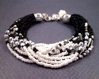 Multi Strand Bracelet, 12 Strand Black White and Silver Beaded Bracelet, Flower and Heart Charm Bracelet, FREE Shipping U.S.