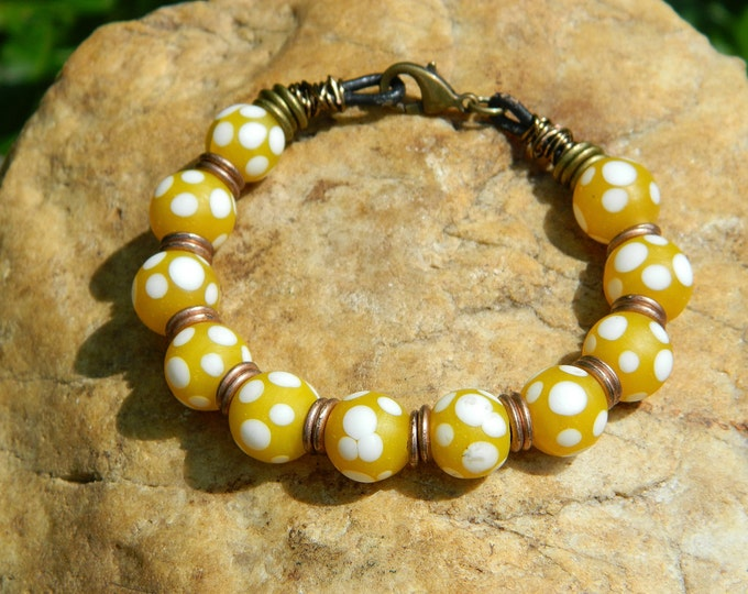 Featured listing image: Yellow Polka Dot Indonesian Glass Bead Bracelet