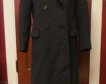50% Off SALE Vintage Black Wool Double Breasted Long Coat Small 6 Ladies Harve Benard