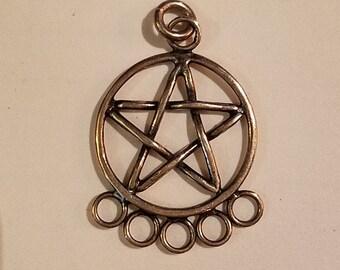 Vintage Sterling Silver Pentagram Charm Holder Pentacle