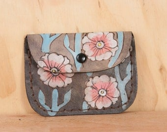Leather Pouch - Coin Purse - Card Case - Business Card Holder - Handmade in the Aurora pattern with flowers and vines