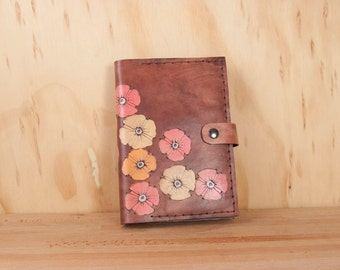 Leather Photo Album or Brag Book - Poppy Garden pattern with flowers in yellow, orange, pink and antique mahogany - Grandparent gift