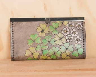 Leather Checkbook Wallet - Ladies Clutch Wallet - Lucky pattern with shamrocks and flowers - Green, white, antique black