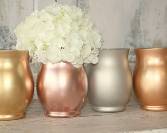 Mixed metal dipped vase, 24 wedding centerpiece vases in gold, matte silver, rose gold or copper-gold, mixed metal theme decor, wide mouth