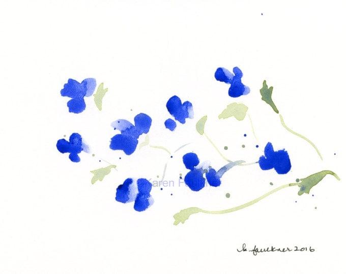 "Original watercolor painting of cobalt blue flowers: ""Lobelia"""