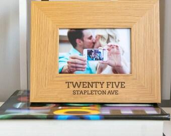 Personalised Address Oak Photo Frame