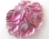 Antique French Lalique Style Frosted Amethyst Floral Molded Glass Stone - 40mmx30mm - 1