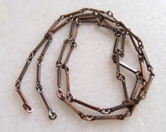 Vintage Patina Ginger Brass Bar Chain - 23 inch Length