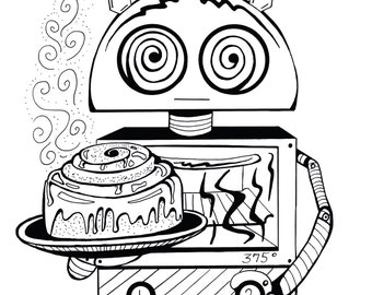 Coloring Art Print Robot #14 Cinnabot 11x17 Poster Art For You To Color and Frame with FREE Markers