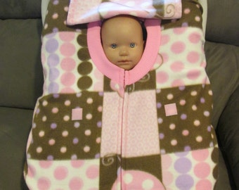Pink Brown Ladybugs fleece infant baby car seat cover with full zipper & weather flap.  Great Gift. Every newborn baby needs protection.