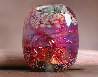 Artisan Glass Focal Bead Fire Opal Hot Pink Fiery Orange Divine Spark Designs SRA