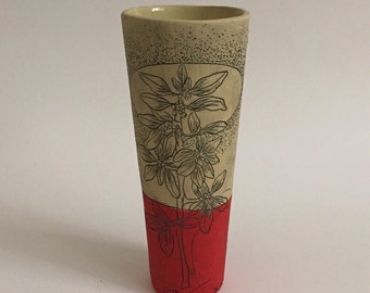 Red Berry Cylinder Vase