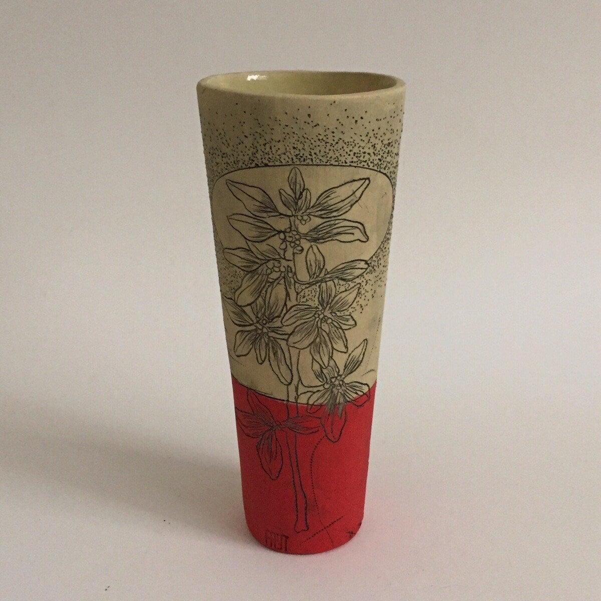 Red Berry Cylinder Vase