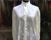 Vintage 70s white satin jacquard print high neck blouse ~ romantic ~ victorian ~ gothic