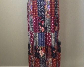 Vintage 90s Patchwork polka dot maxi skirt ~ broomstick skirt ~ bohemian ~ hippie ~ festival