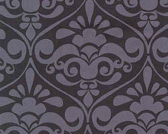 CLEARANCE .5 Yard Michael Miller Divine Damask in Gray and Black