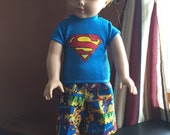 18 inch doll clothes fun SUPERMAN theme SHORTS  and cordinating SHIRT for your special doll .