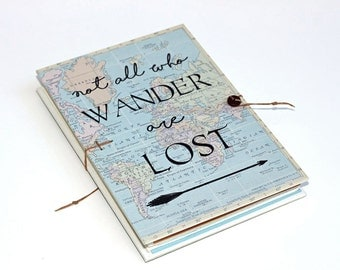 Not all Who Wander are Lost Travel Journal with World Map, Pockets and Envelopes - Gift for Traveler - Map Notebook