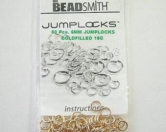 14KT Gold Filled JUMPLOCKS / Jumprings, 6mm 18 Gauge  (Select Quantity)