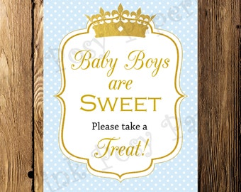Printable Prince Boy Baby Shower Treat Sign - Instant Download