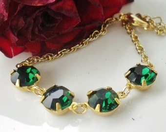 Christmas Emerald Rhinestone Bracelet Vintage 14K Gold Plated Chain
