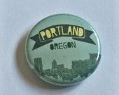 Portland, Oregon Cityscape Skyline 1 inch Button Pin