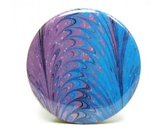Marbled Magnet 16 Purple and Blue Marbled Paper 2.25 inch Round Magnet - Office, Kitchen, Locker - Gifts Under 5 Dollars, Teacher Gift