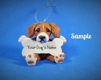 Duck Tolling Retriever Santa Dog with Bone Christmas Holidays  Ornament Sally's Bits of Clay PERSONALIZED FREE with dog's name