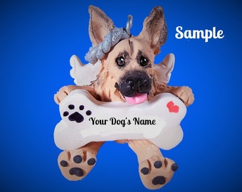 Tan with Black German Shepherd Angel Dog Christmas Holidays Bone Ornament Sally's Bits of Clay PERSONALIZED FREE with dog's name