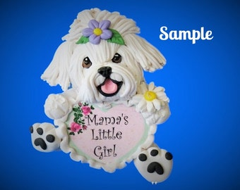 Maltese Dog Mama's Little Girl Mother's Day Sculpture OOAK Clay art by Sally's Bits of Clay