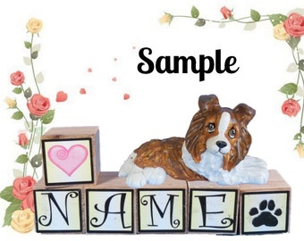 Sable Sheltie Shetland Sheepdog PERSONALIZED with your dog's name on blocks by Sally's Bits of Clay