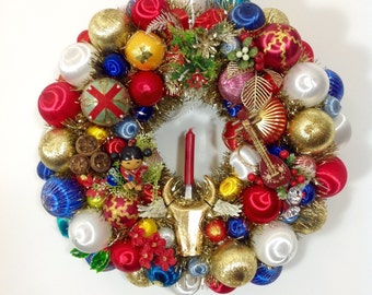 Year of The Bull Vintage Ornament Wreath