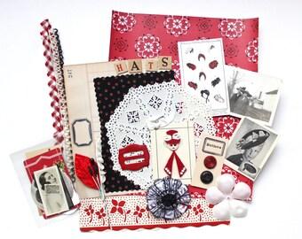 Vintage Paper Ephemera Fashion Hat Scrapbooking Kit in Black Red and White
