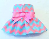Female Dog Diaper Skirt  Perfect for your dog in Season and House Training Aqua and Pink Chevron