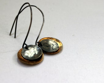 Rustic sterling silver and brass disk earrings