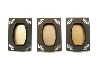 Vintage Japanese Door Pulls - Sliding Door Pulls - Pocket Door Pulls - Vintage Door Pulls - C14 Set of 3 Gold Silver Black Brown