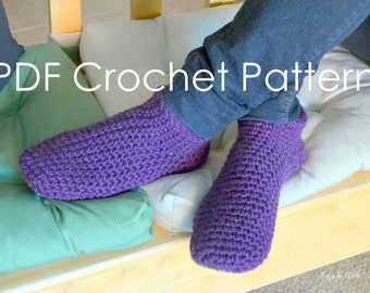 Comfy, Chunky Sock Slippers Crochet PDF Pattern