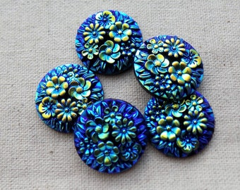 10 Round Blue AB Flower Cabochons Cabs 18mm