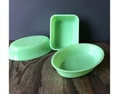 McKee Jadeite Oval Dish - Refrigerator Box - Green Milk Glass