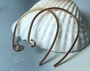 Handmade rose gold tone earwire size 22x22mm 20g thick, 8 pcs (item ID YHERG)