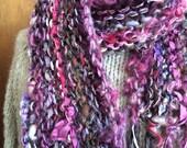 Handspun handknit scarf purple plum pink long fringed