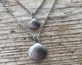 Beachcomber necklace .  Two sizes, solid sterling silver casting of an Irish sea shell. Handmade artisan jewellery.